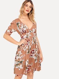 V-Neck Flower Print Dress