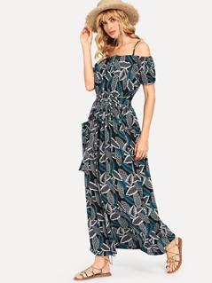 Waist Belted Botanical Print Dress