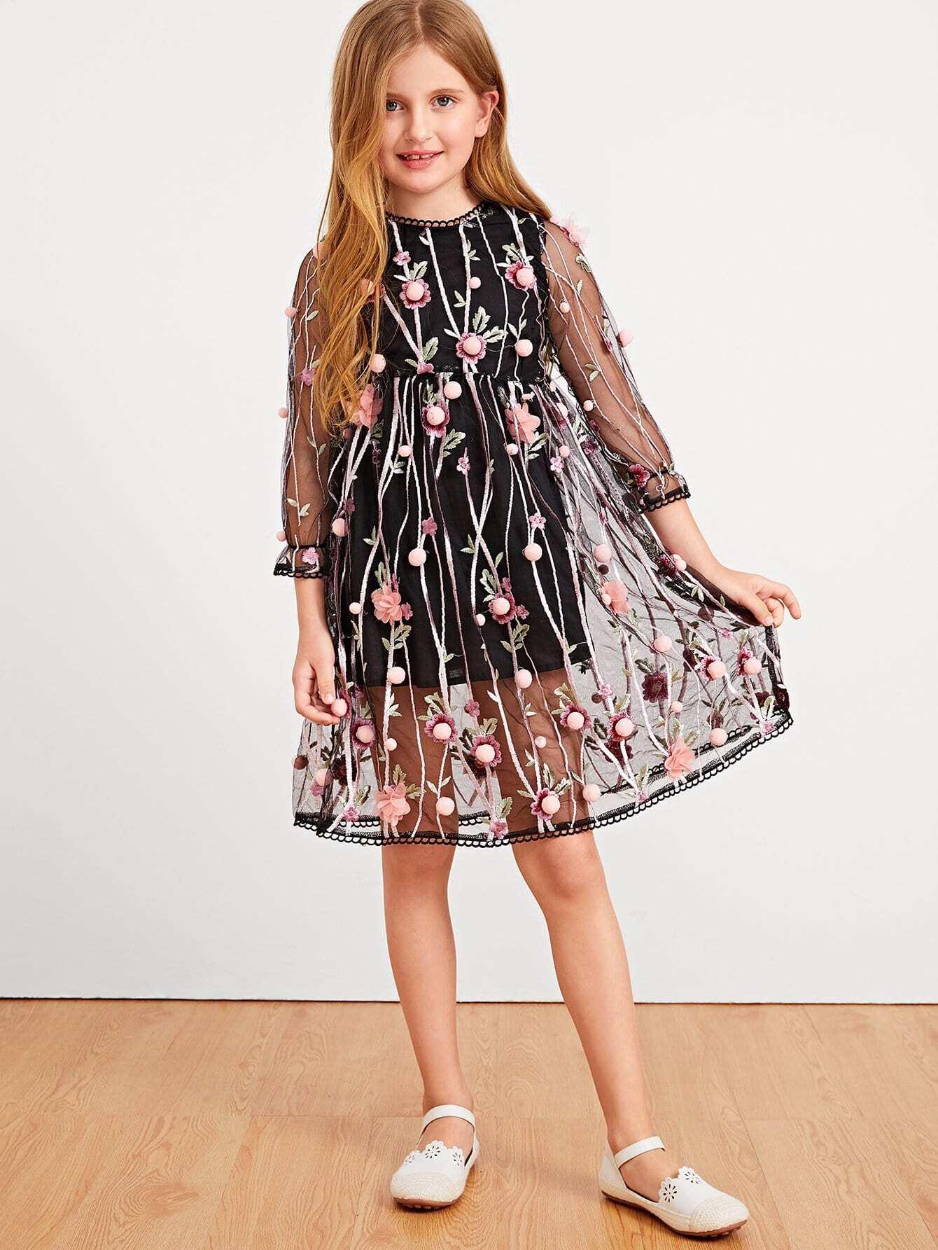 Купить Pom Pom Ситцевое платье со симметрическими сетчатыми для девочки, Dariab, SheIn