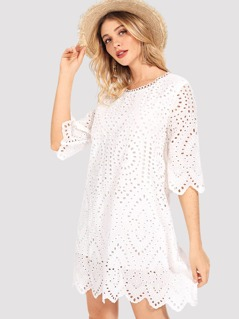 Eyelet Embroidered Tunic Dress