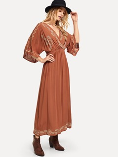 Surplice Neck Embroidery Dress