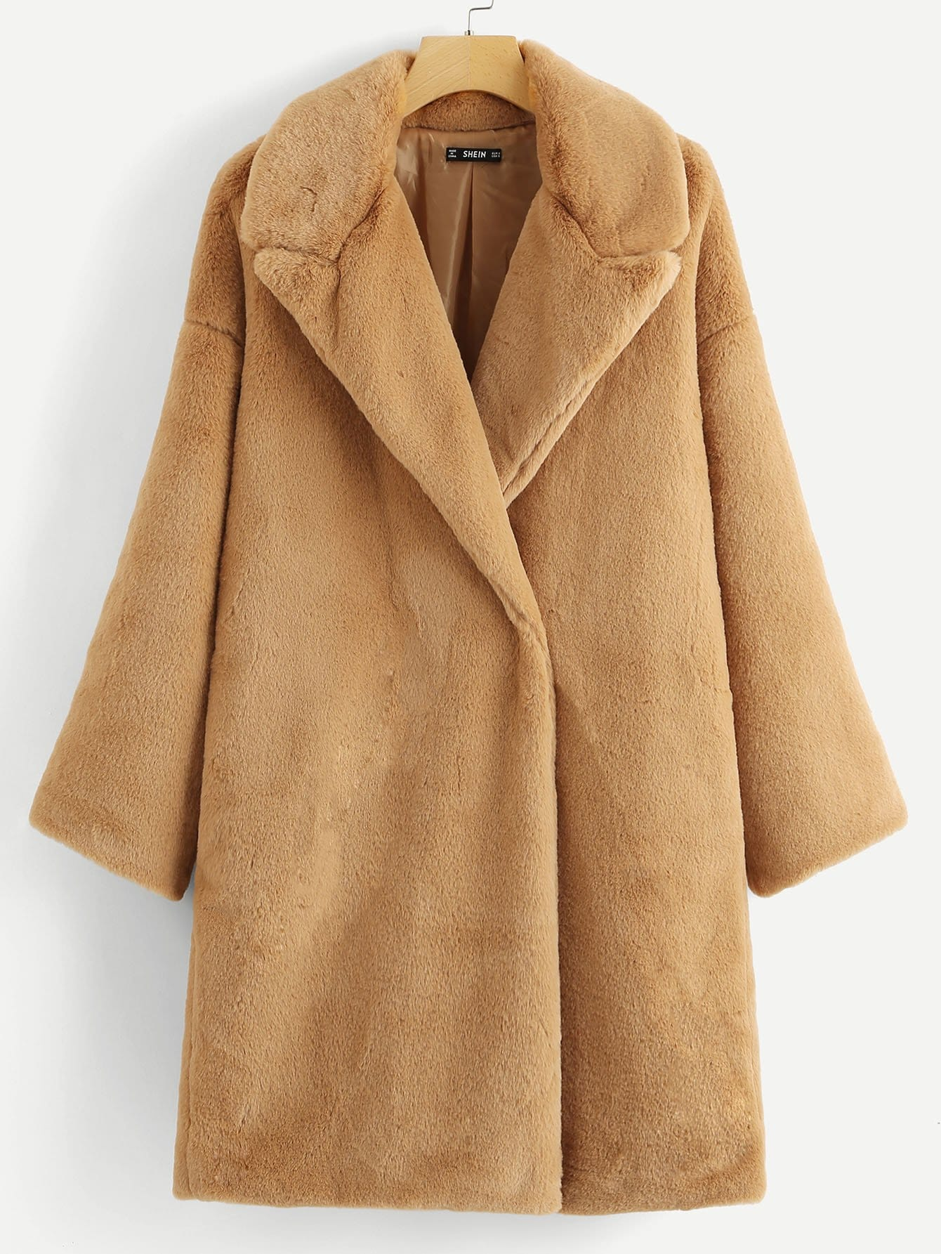 Купить Тедди пальто на пуговицах из искусственного меха, null, SheIn