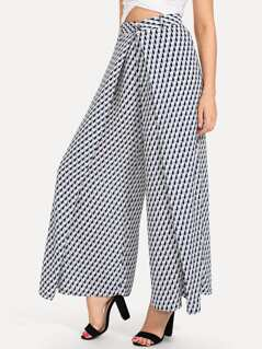 Wide Waistband Overlap Houndstooth Pants