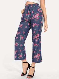 Waist Elastic Flower Print Pants