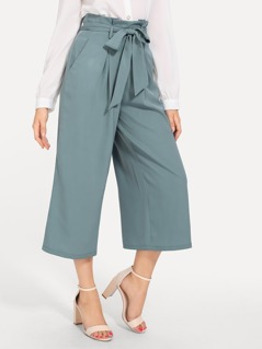 Boxed Pleated Wide Leg Pants