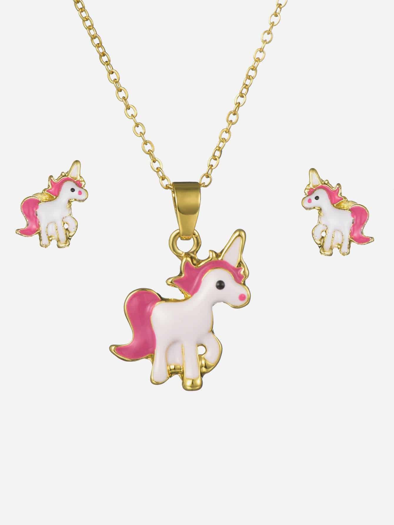 Купить Ожерелье с подвеской единорога и серьги для девочки, null, SheIn