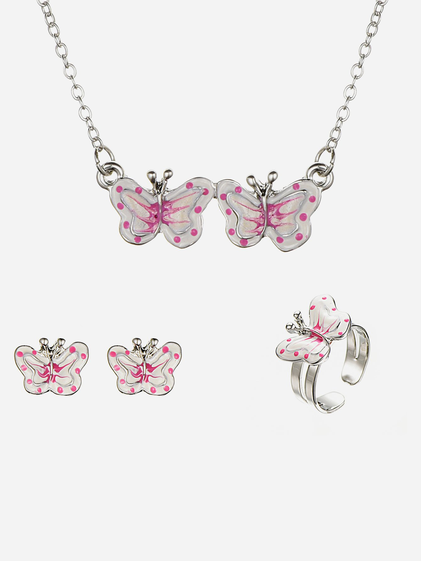 Girls Butterfly Pendant Necklace & Earrings Ring
