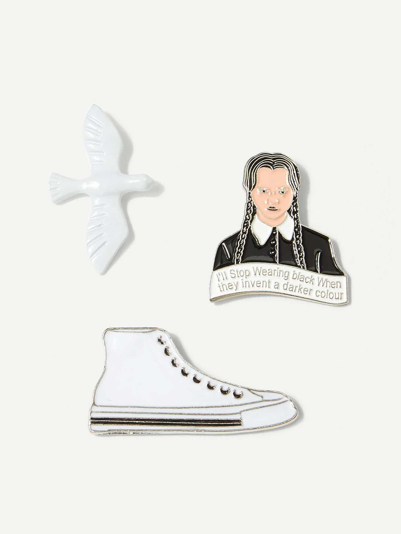 Набор брошки с украшением птицы и туфли 3 шт