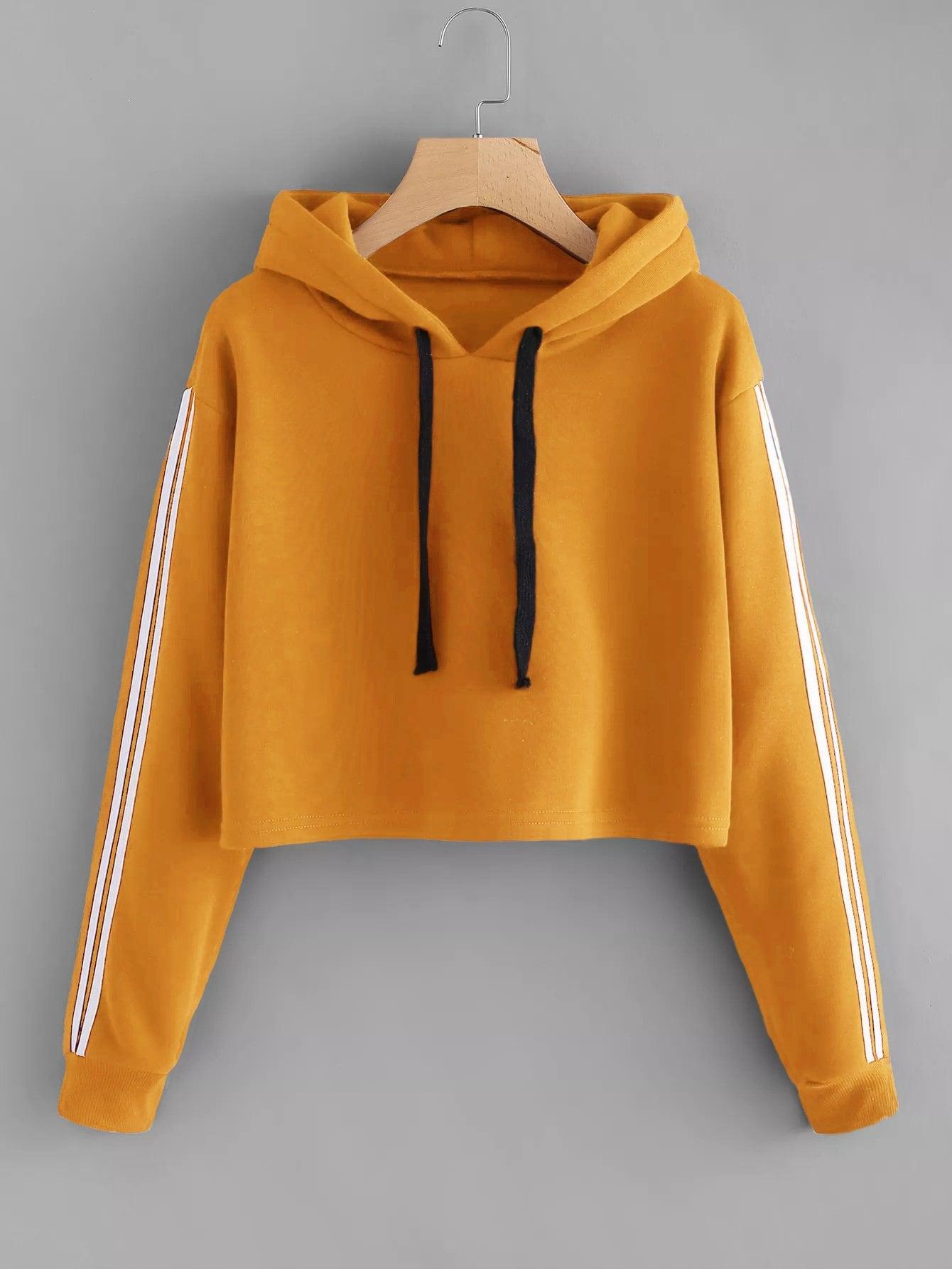 Купить Кокетливый стиль Полосатые изображения на кулиске Пуловеры Оранжевый Свитшоты, null, SheIn