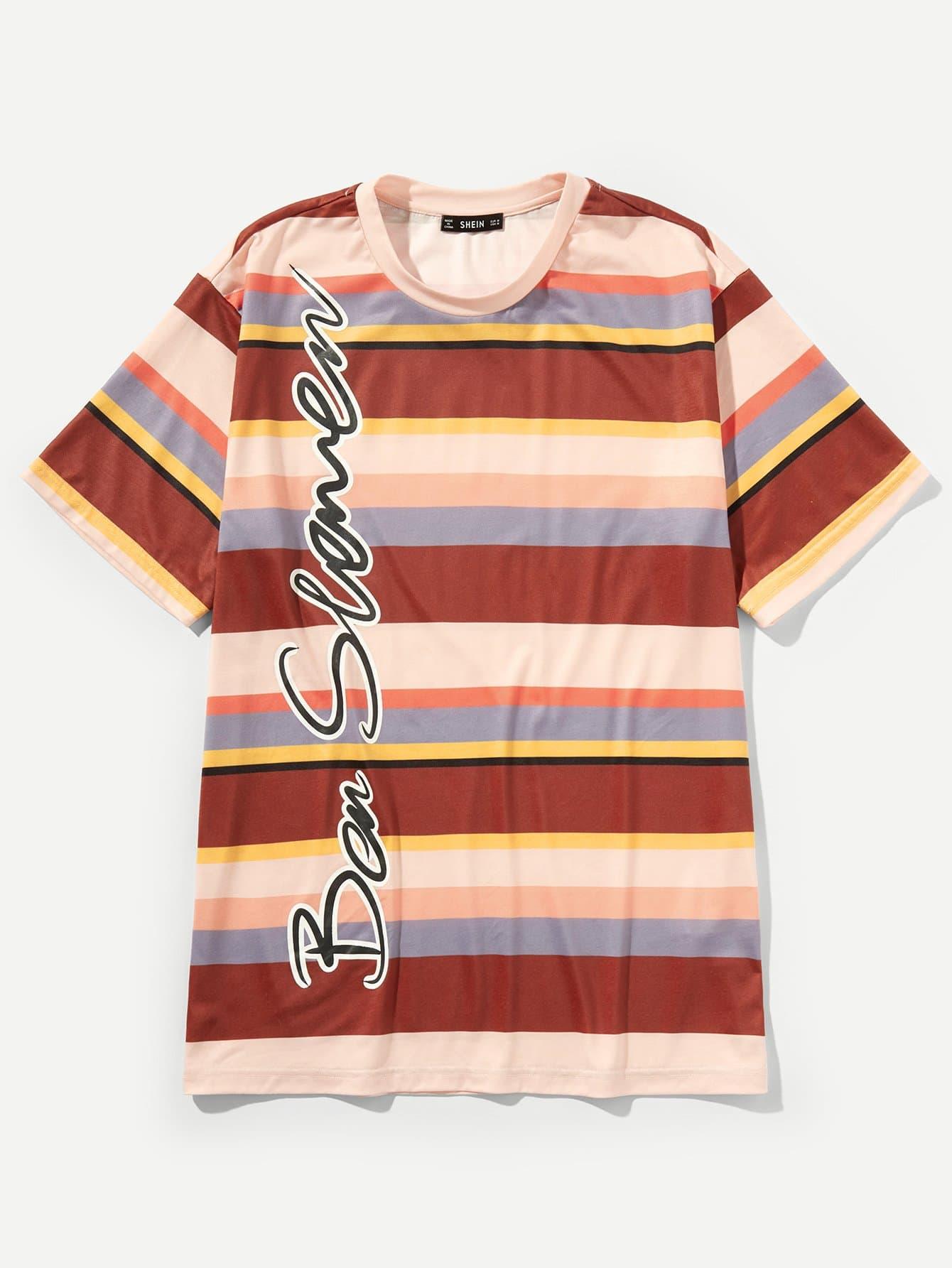 Купить Простая футболка с рисунками буквы и полосы для мужчины, null, SheIn