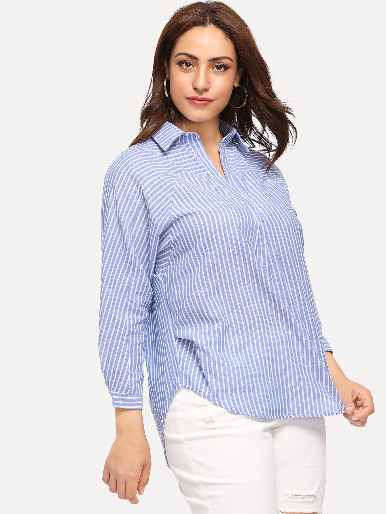 Plus Asymmetrical Hem Striped Blouse
