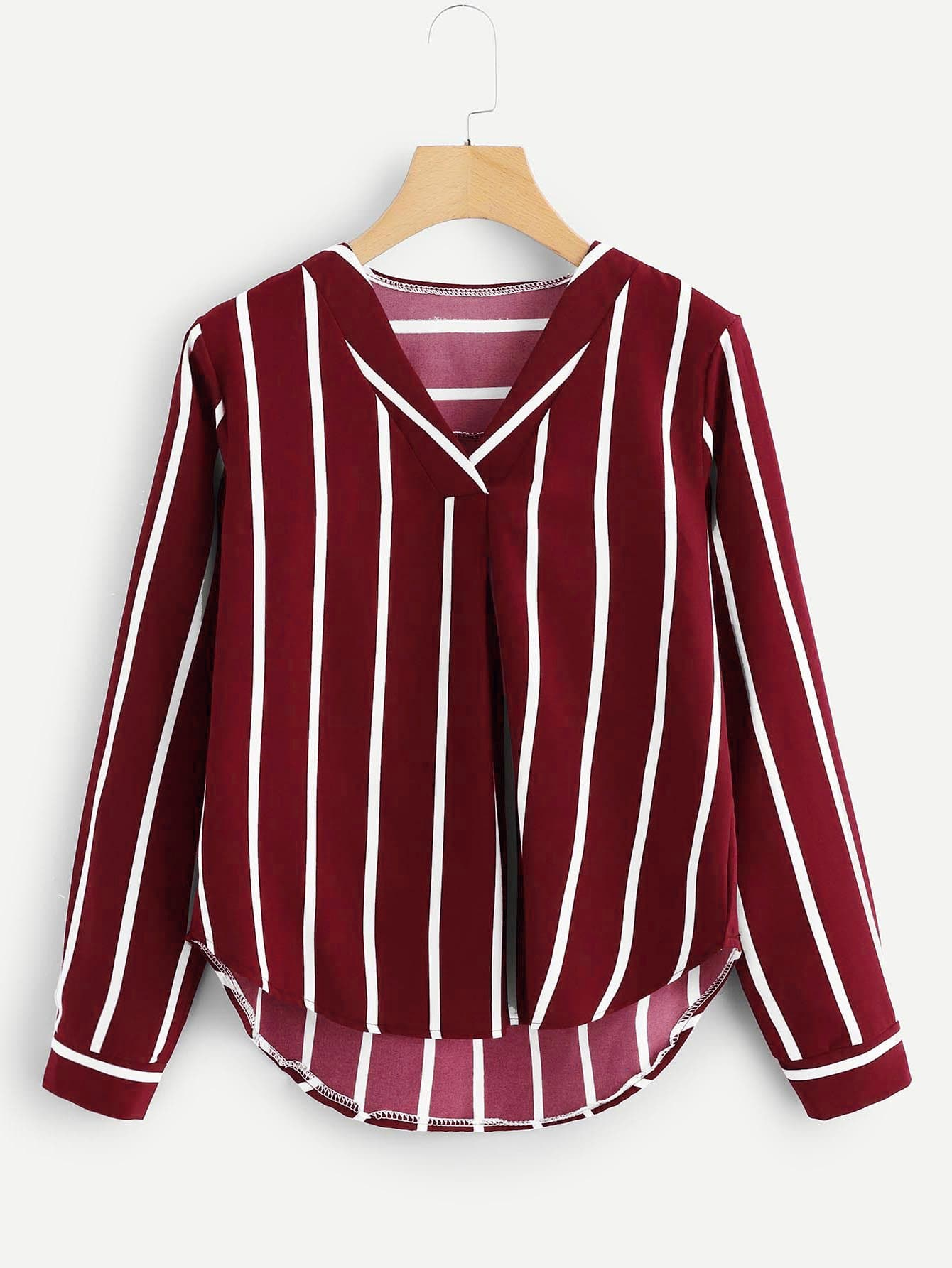 Купить Полосатая асимметричная блуза с V-образным вырезом, null, SheIn