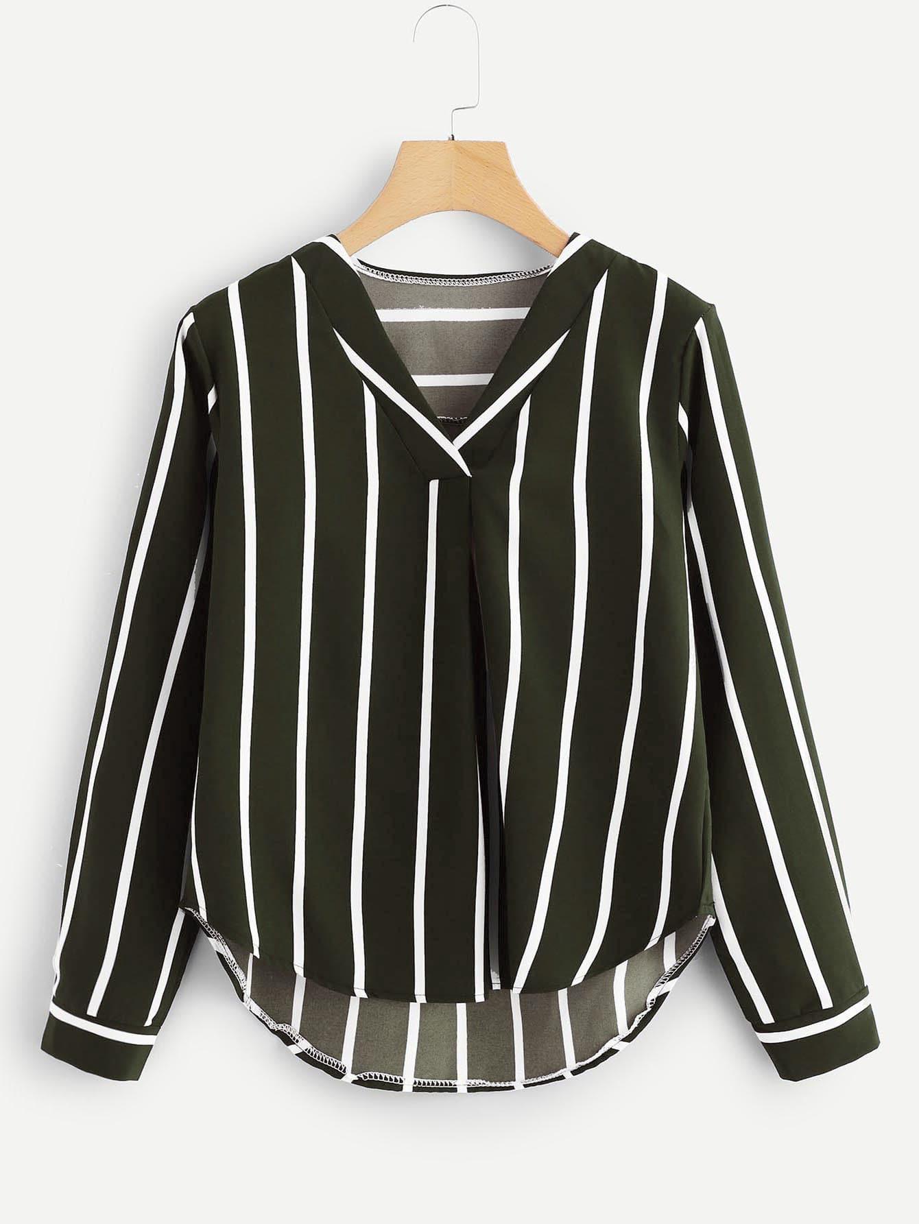 Asymmetrische Bluse mit V Ausschnitt und Streifen