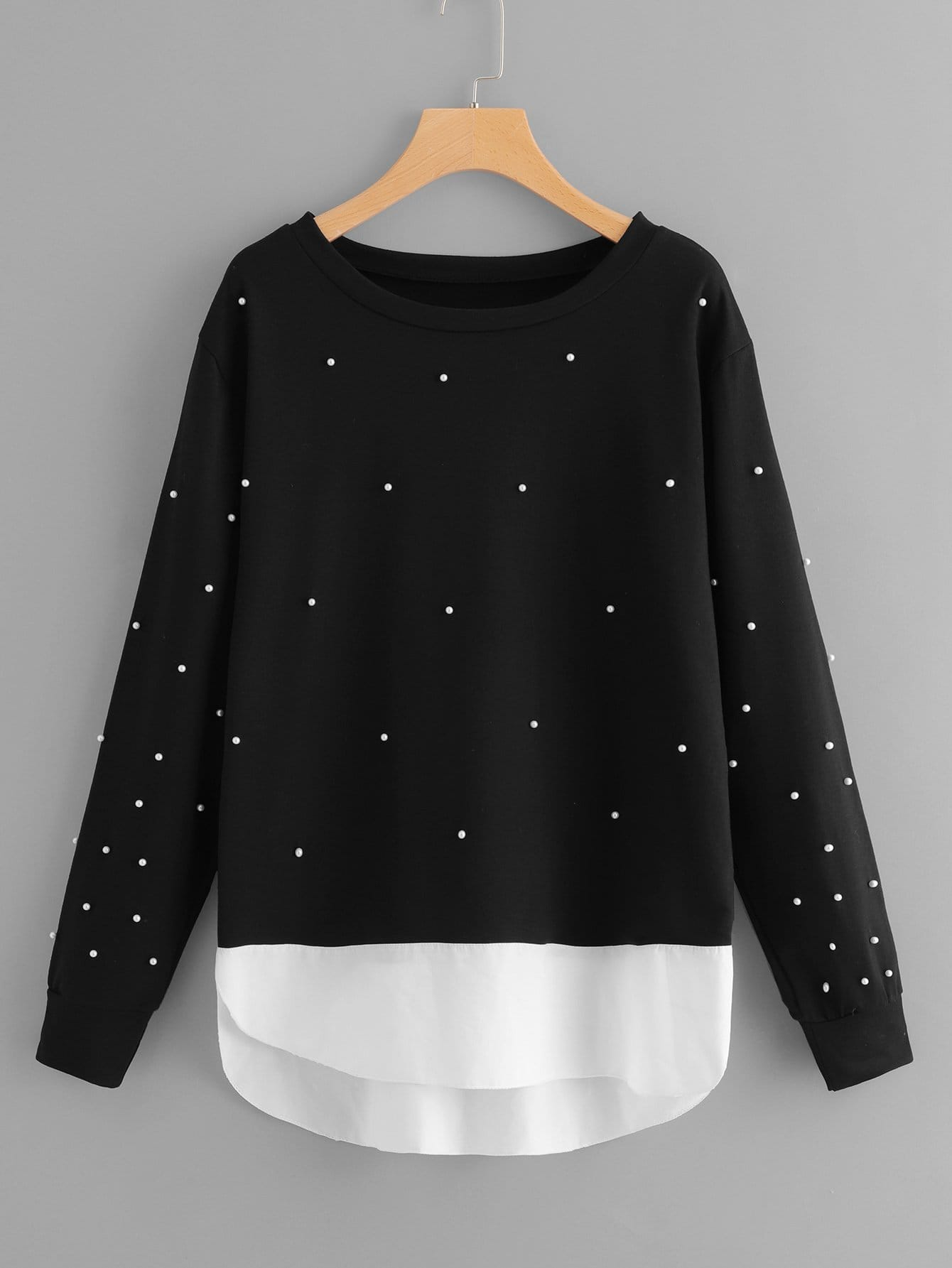 Übergroßes Sweatshirt mit Perlen