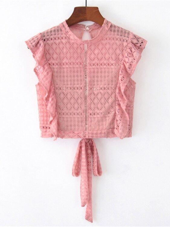 Купить Ажурная блуза с розеткой и с бантом сзади одежды, null, SheIn