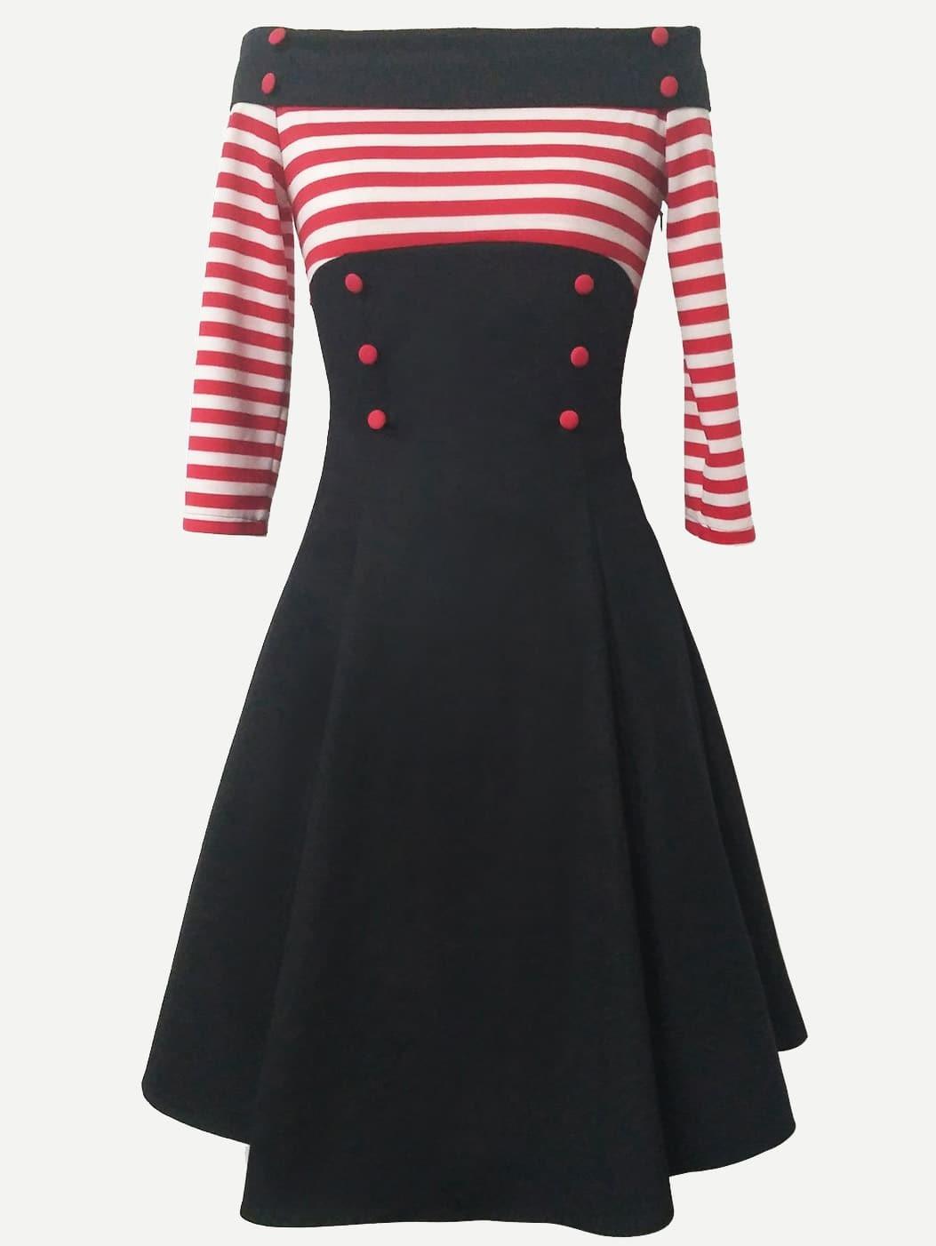 Купить Платье без бретелек и с украшением пуговицы и со симметрическими полосами, null, SheIn