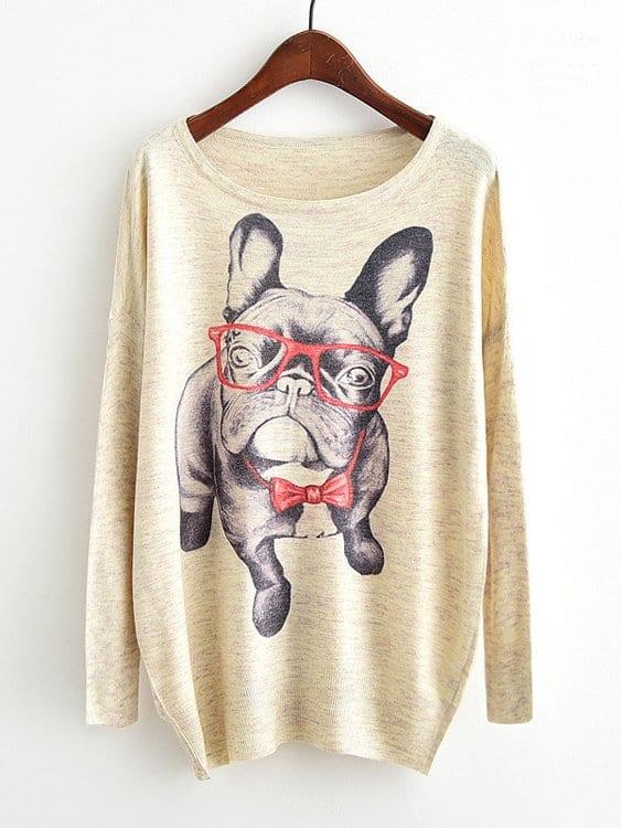 Купить Фуфайка с рисунком собаки и с заниженной линией плеч, null, SheIn