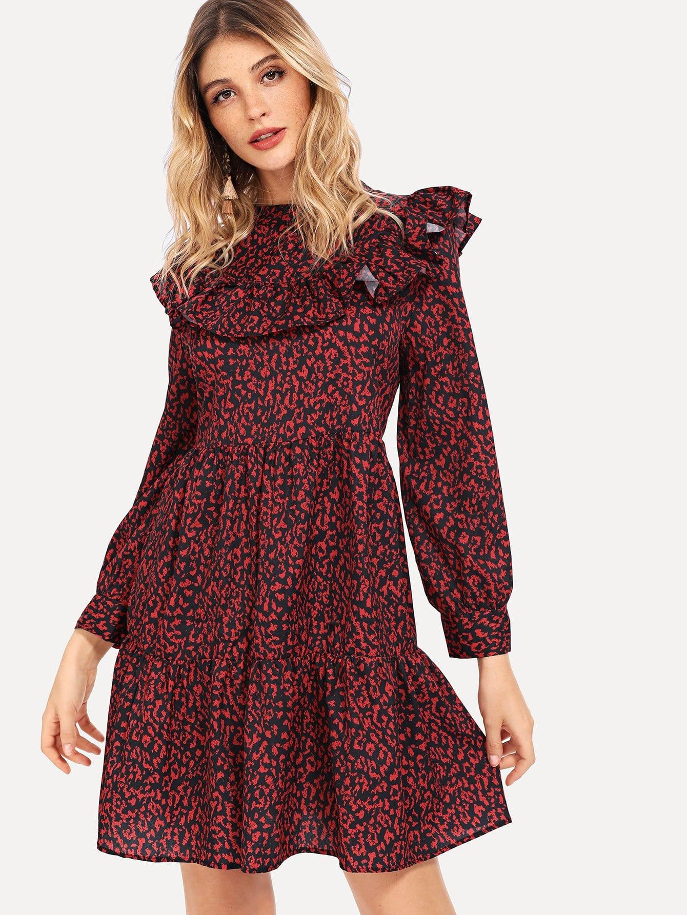 Купить Леопардовое платье с кружевными оборками, Nathane, SheIn