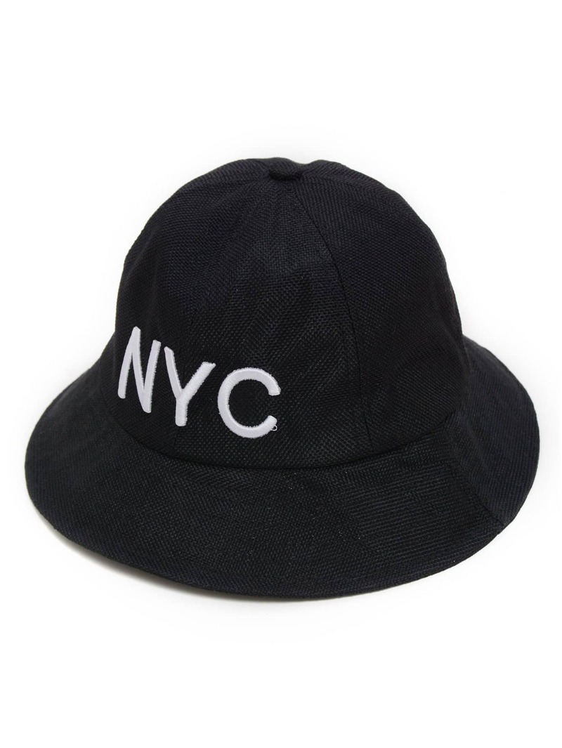 Embroidery Letter Bucket Hat, Black