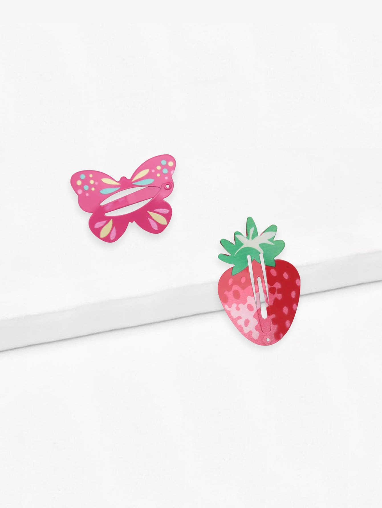 Girls Butterfly & Strawberry Shaped Hairpin Set 2pcs