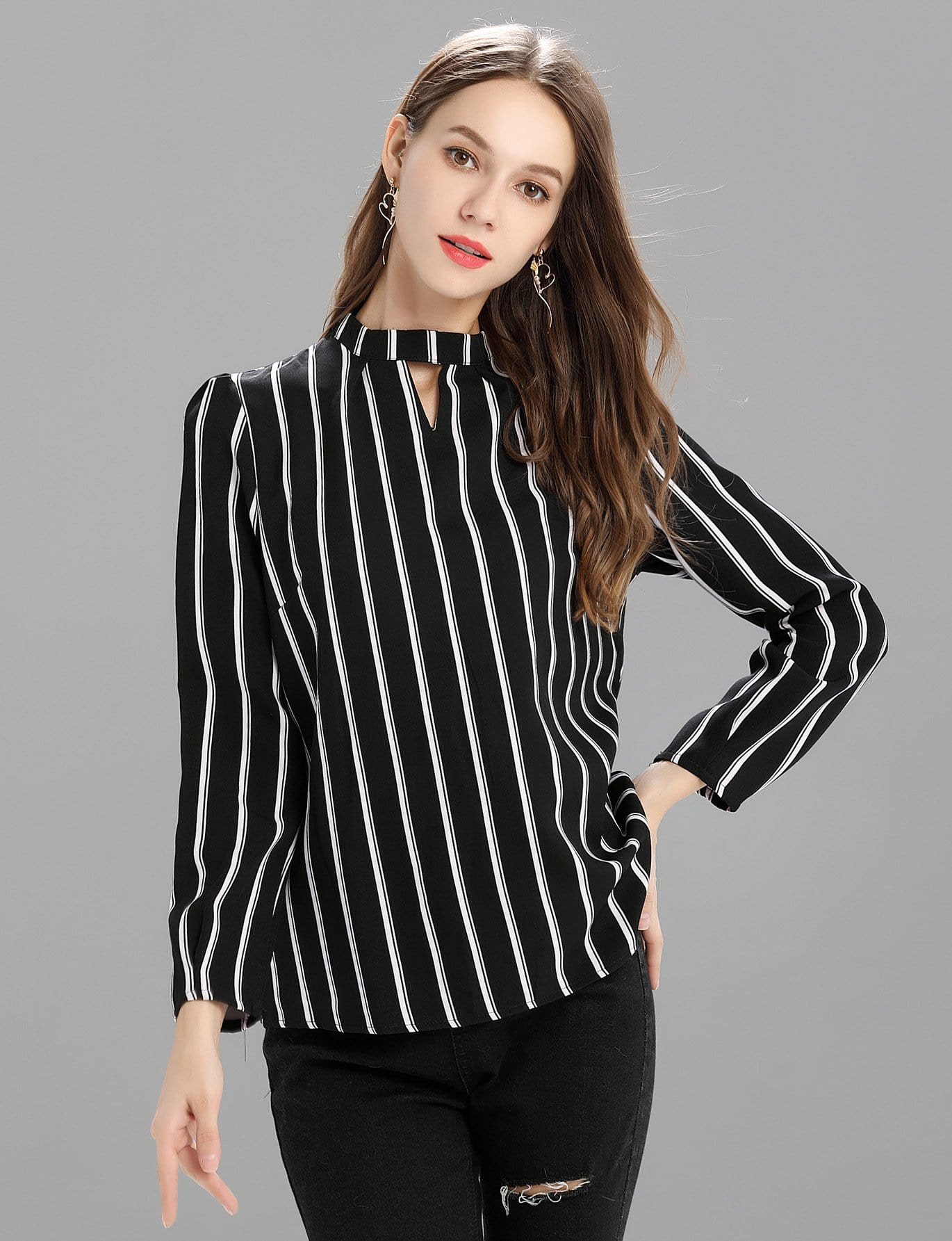 Купить Закройная тонкая-полосатая блуза, null, SheIn