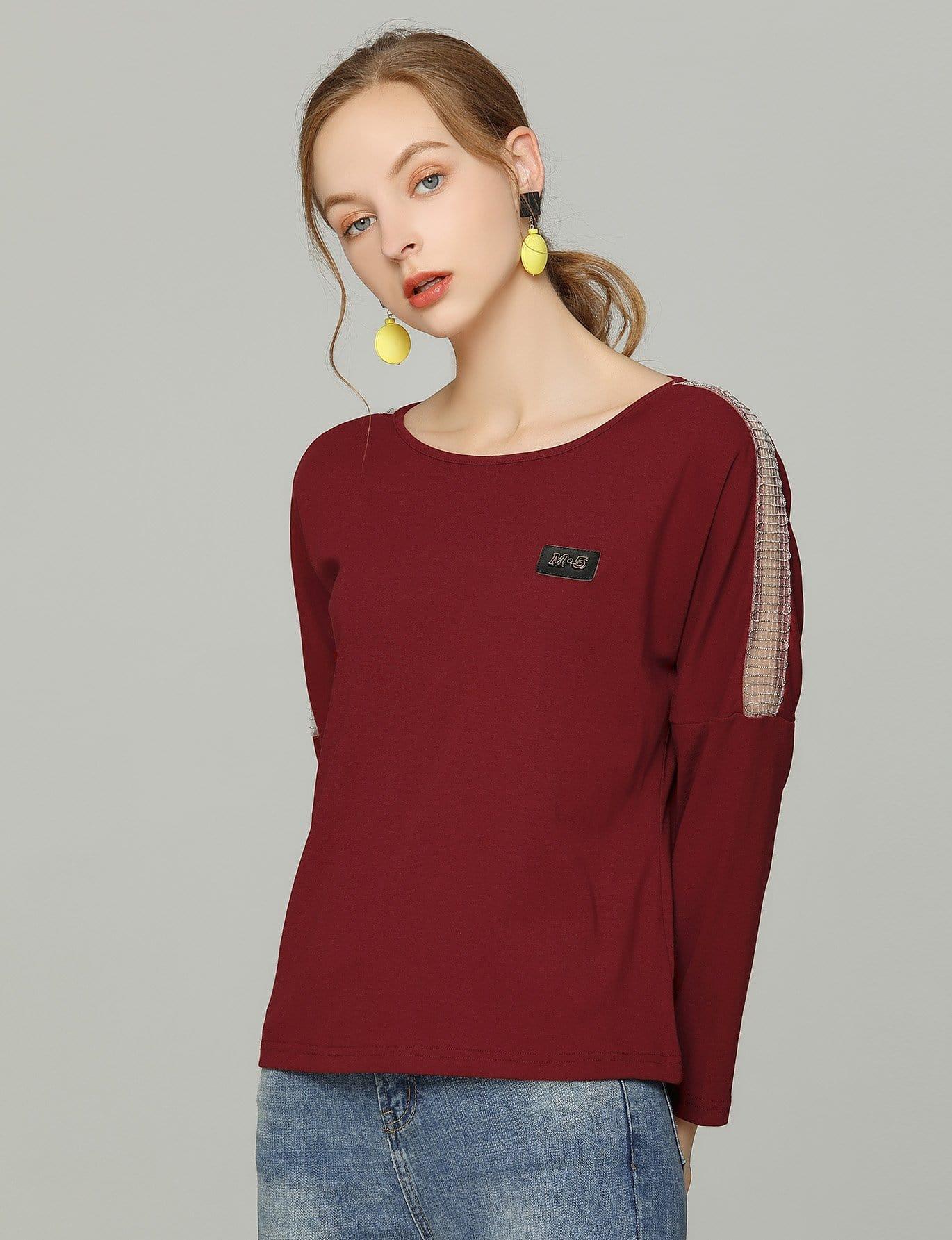 Купить Блуза с заниженной линией плеч и со симметрическими кружевами, null, SheIn