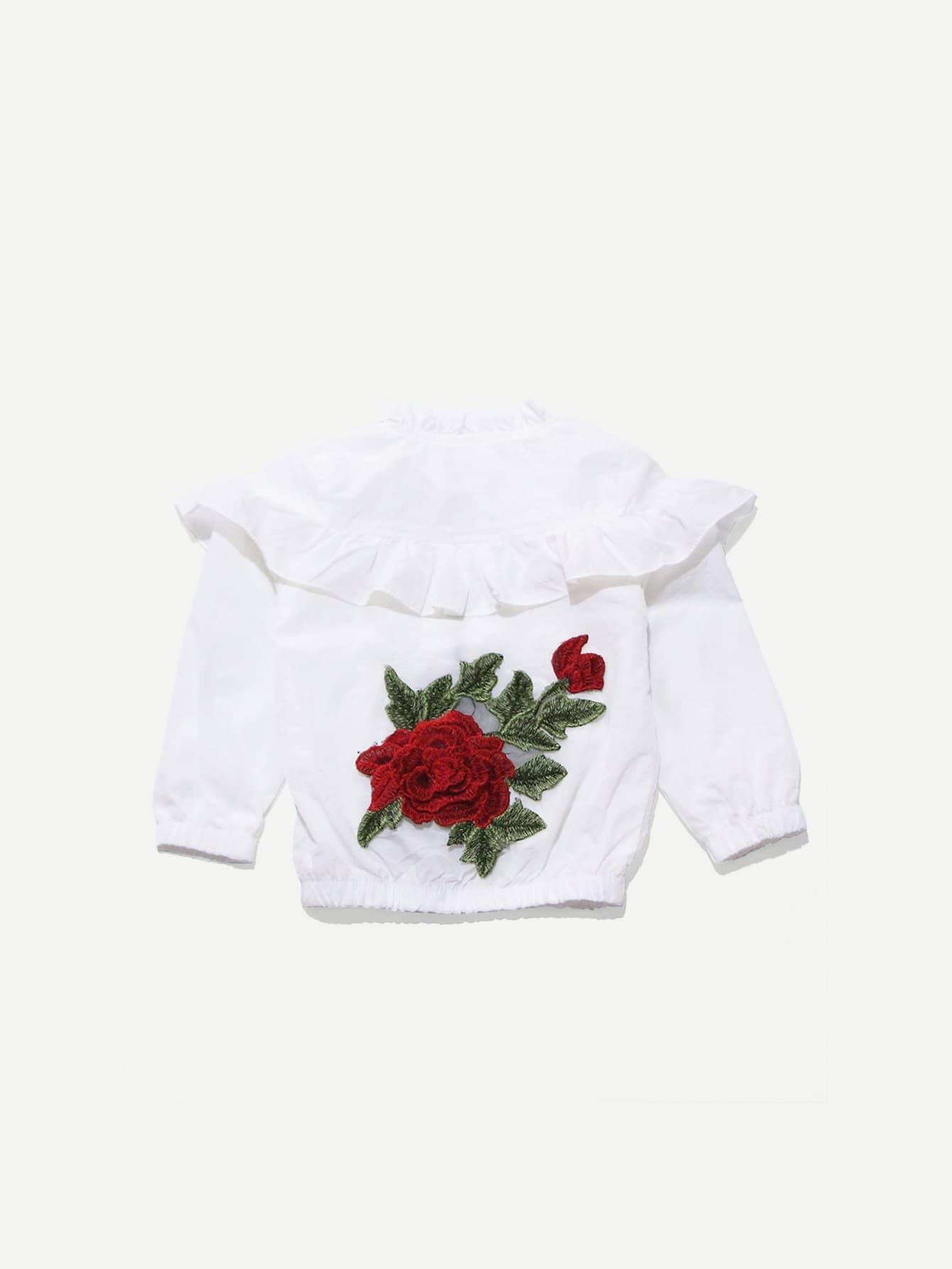 Купить Ветровка с укаршением вышитой розы и с кружевными оборками для девочки, null, SheIn