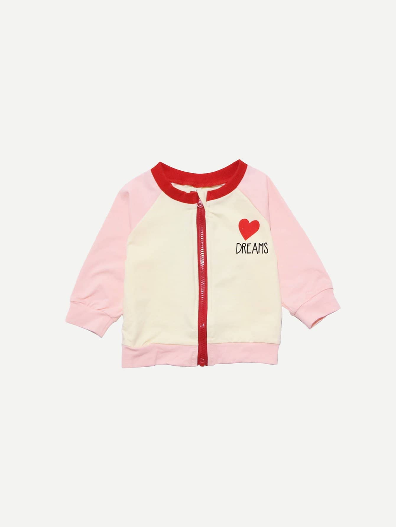 Girls Letter & Cartoon Print Contrast Raglan Sleeve Jacket