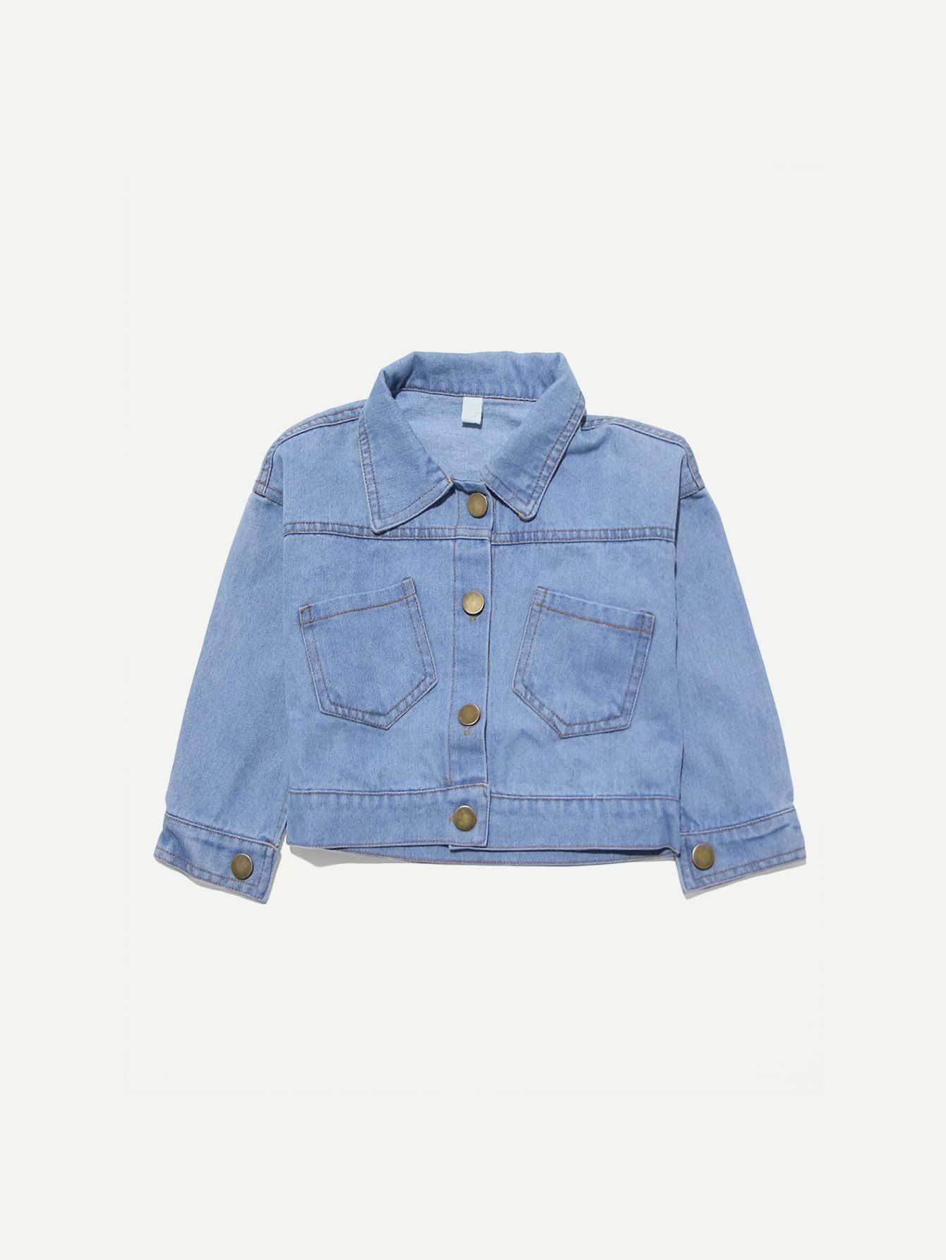 Girls Letter & Animal Print Denim Jacket