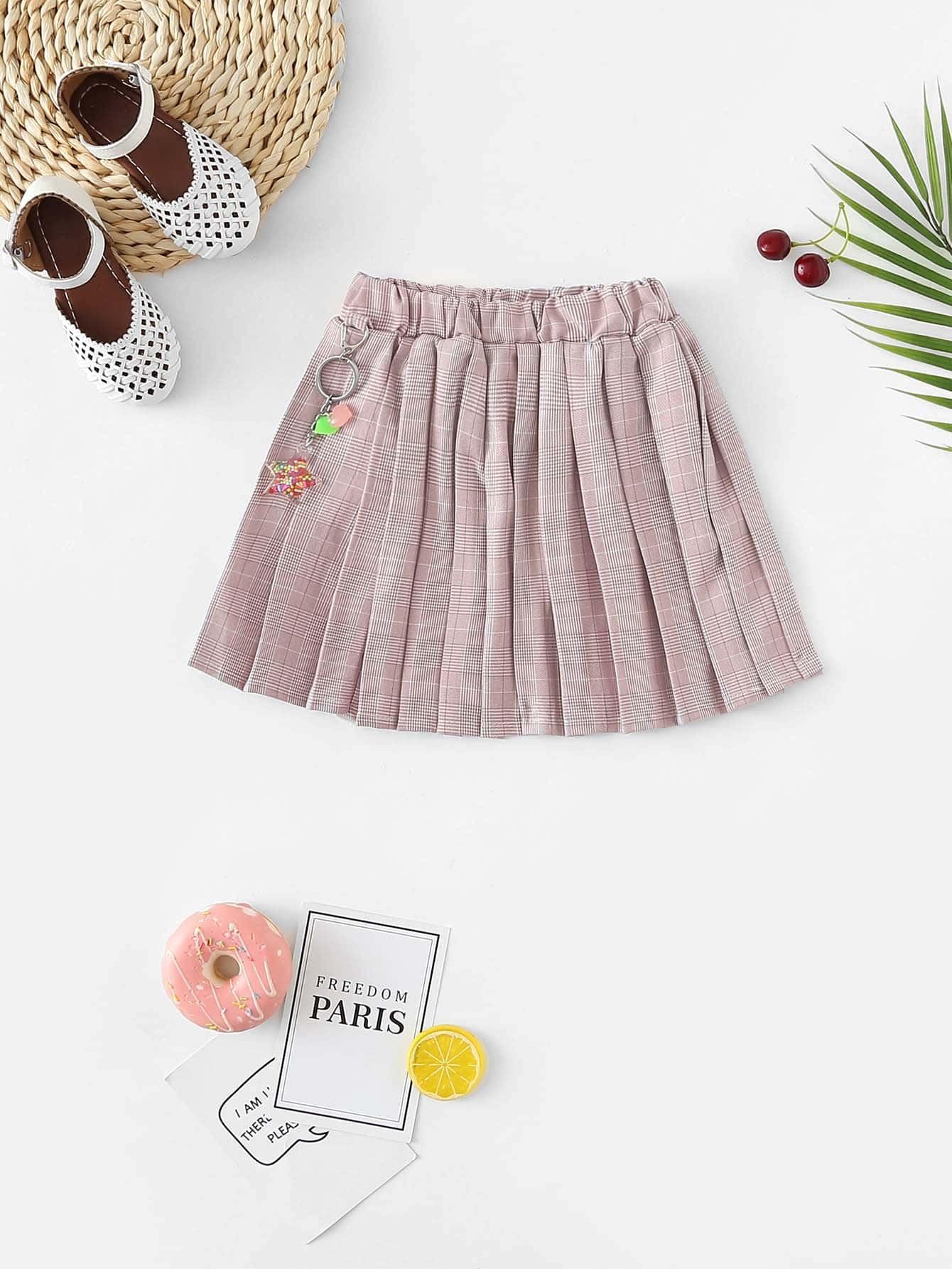 Купить Плиссированная юбка в клетку для девочки, null, SheIn