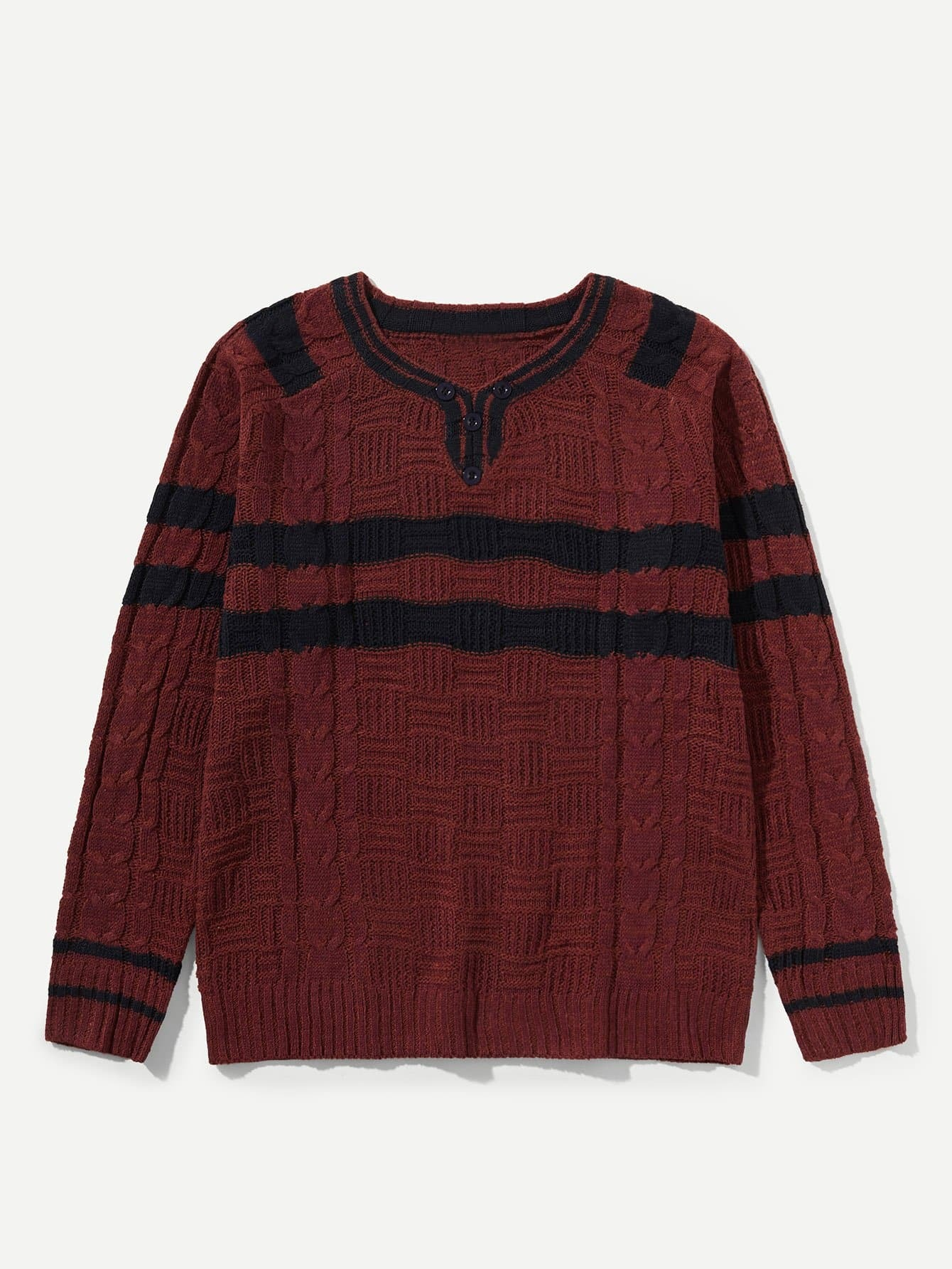 Men Cable Knit Contrast Striped Cardigan