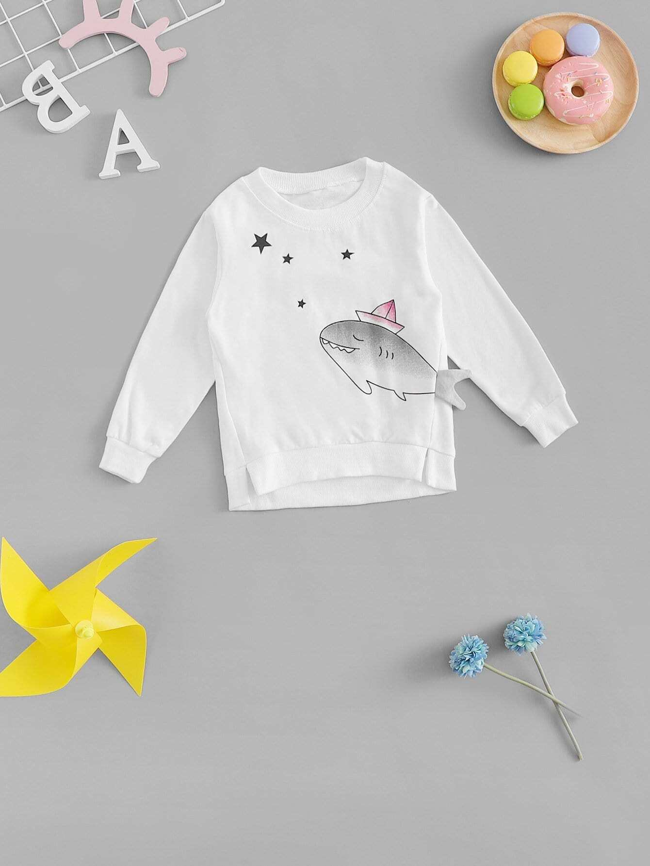 Girls Cartoon Print Sweatshirt