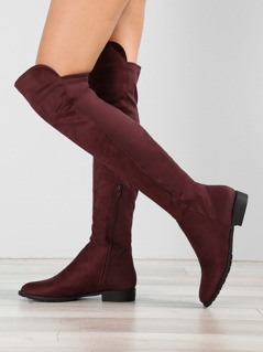 Faux Suede Over The Knee Round Toe Boots