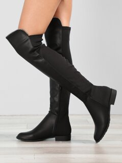 Faux Leather Over The Knee Boots With Stud Accents
