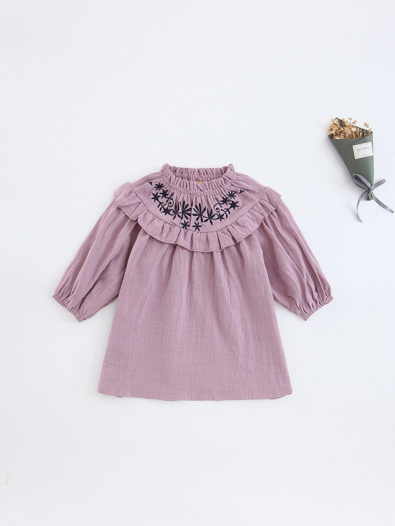 Girls Embroidery Detail Frill Trim Dress girls embroidery detail frill trim blouse