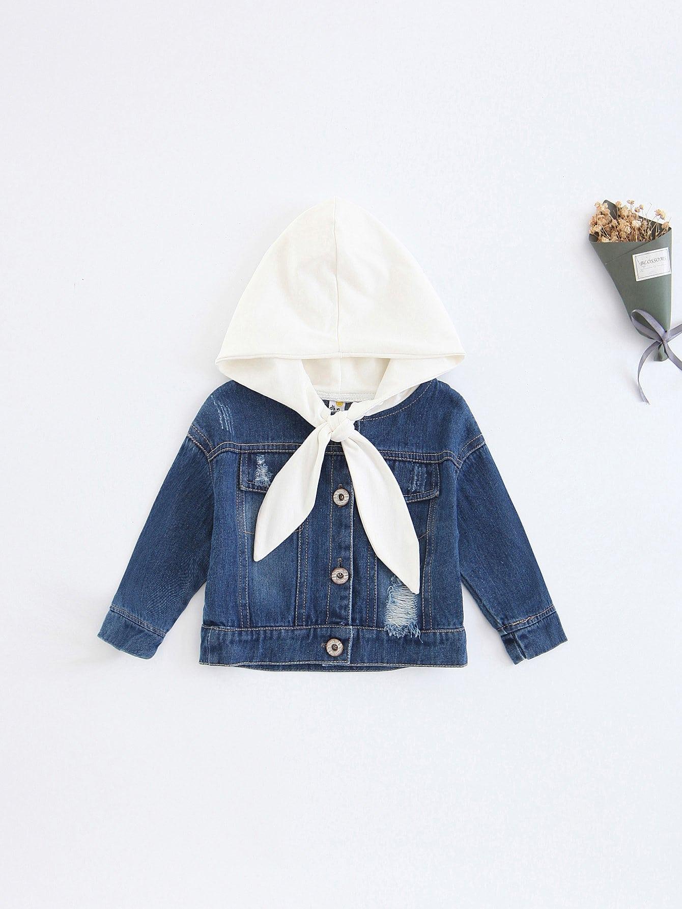 Купить Рваная джинсовая ветровка с капюшоном для девочки, null, SheIn