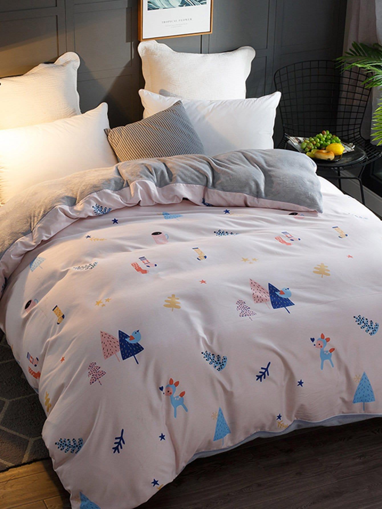 Купить Бархатное постельное бельё с рисунками мультипликаций 1 шт, null, SheIn