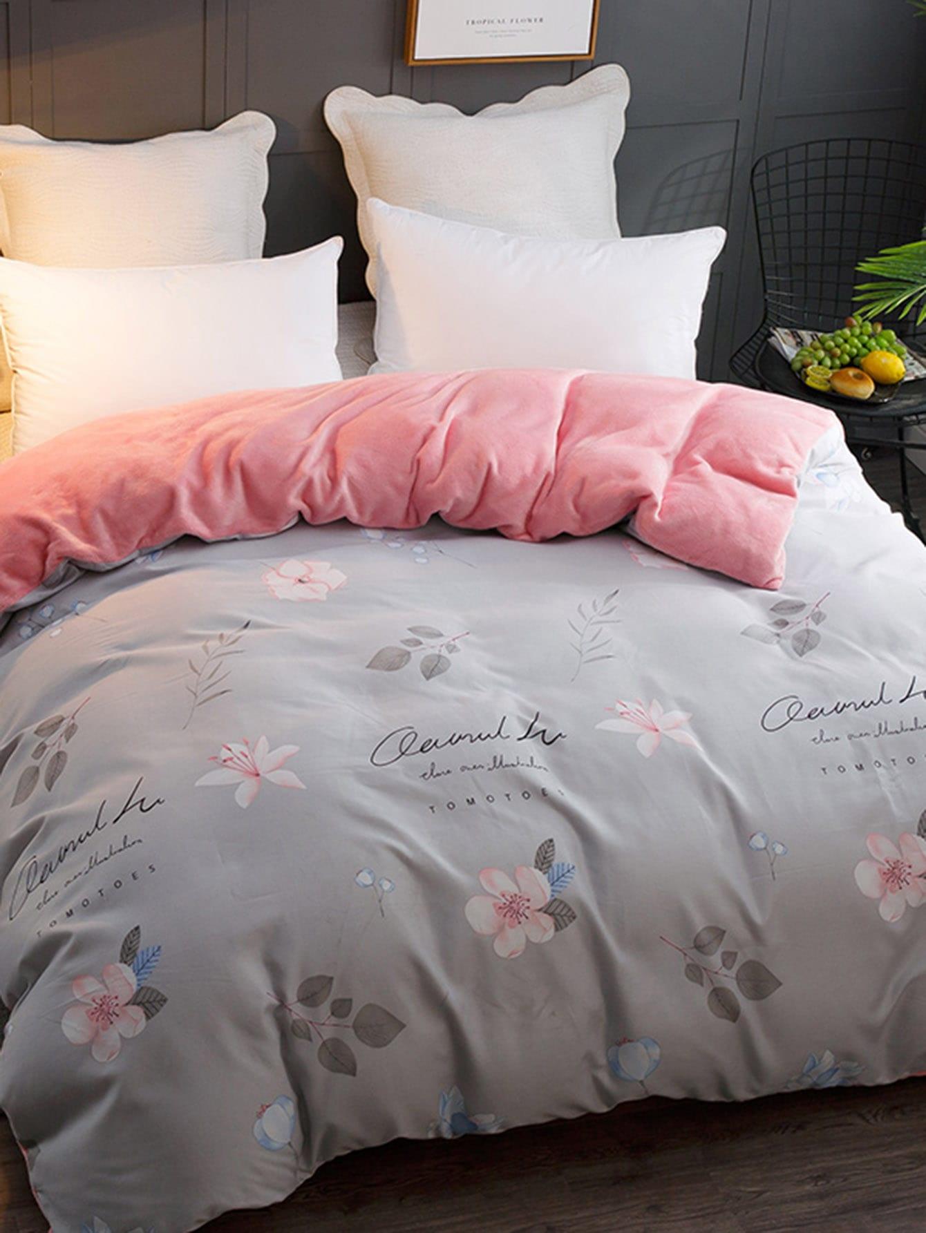 Купить Ситцевое постельное бельё с рисунками буквы 1 шт, null, SheIn