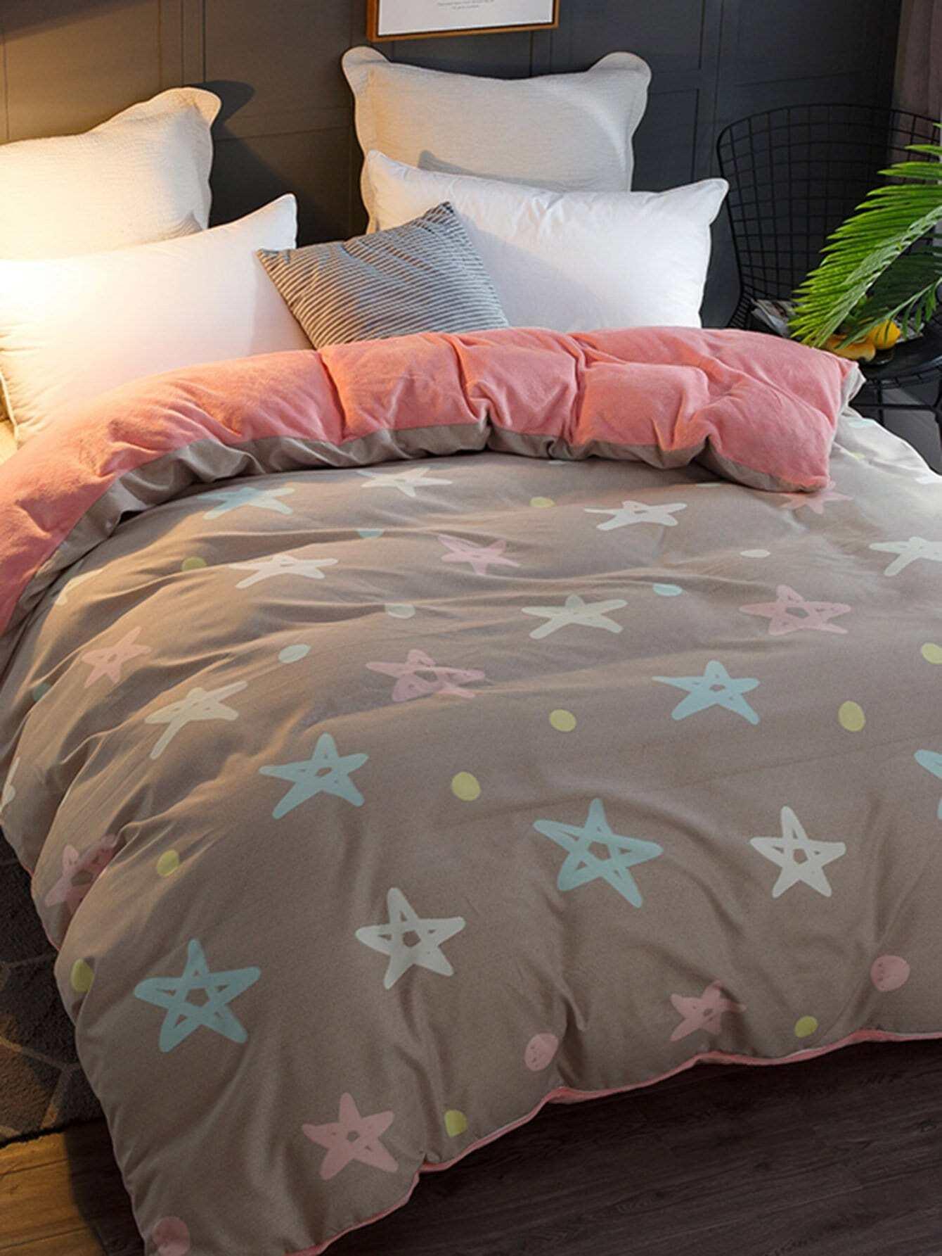 Купить Бархатное постельное бельё с рисунками звёзд 1 шт, null, SheIn
