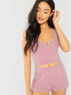 Snap Button Front Crop Top & Shorts Set