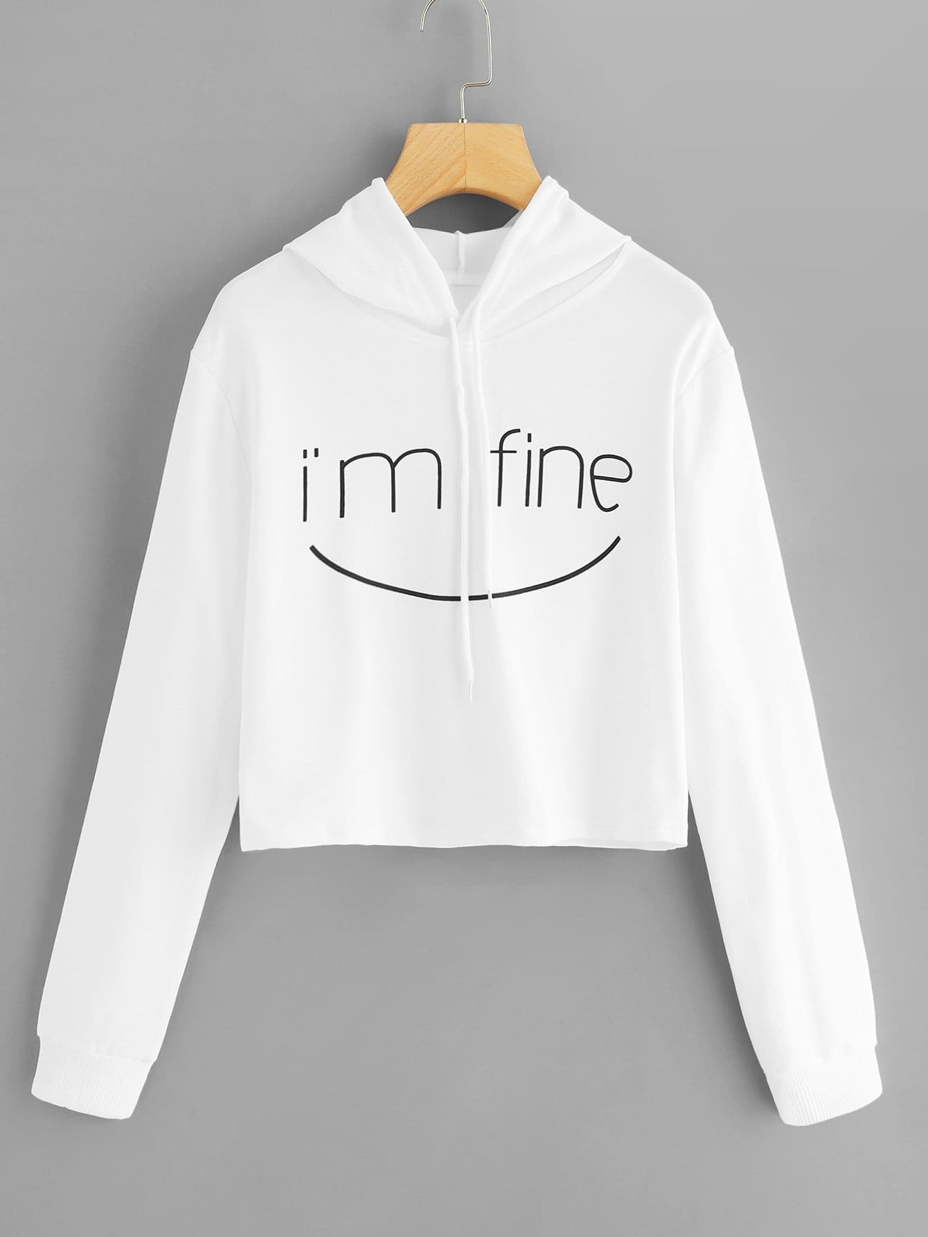 Letter Print Drawstring Hooded Sweatshirt