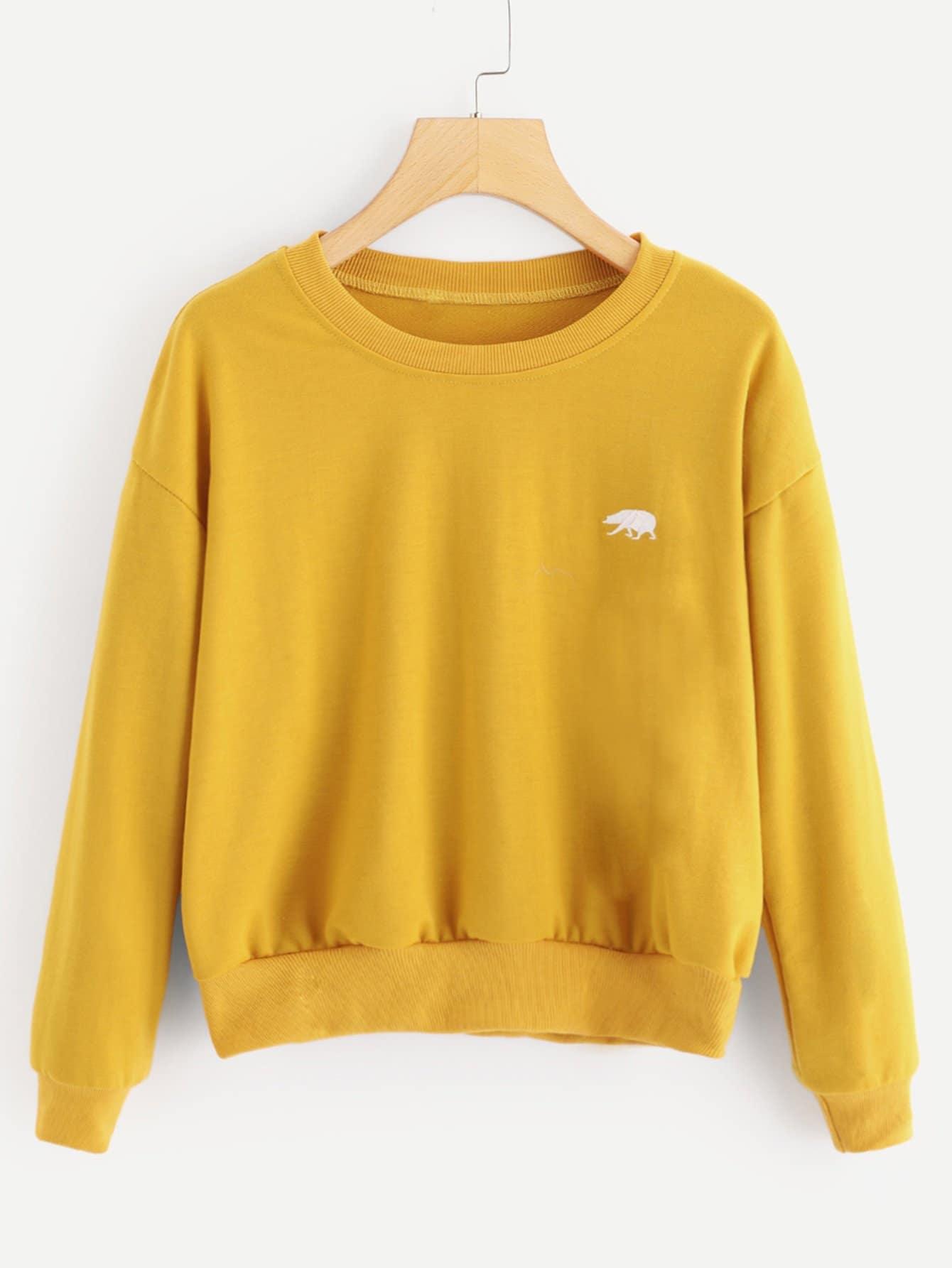 Sweatshirt mit sehr tief angesetzter Schulterpartie und Stickereien