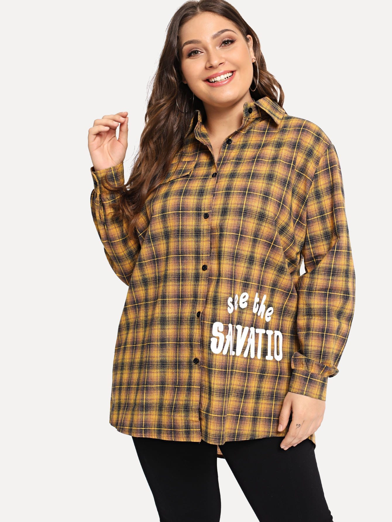 Übergroße Bluse mit Buchstaben Muster und Plaid