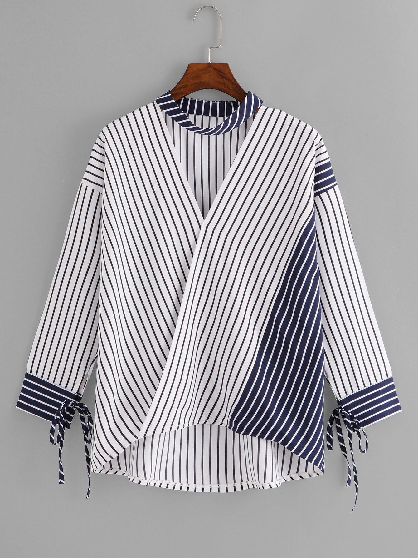 Купить Вырезать воротник блузка в полоску, null, SheIn