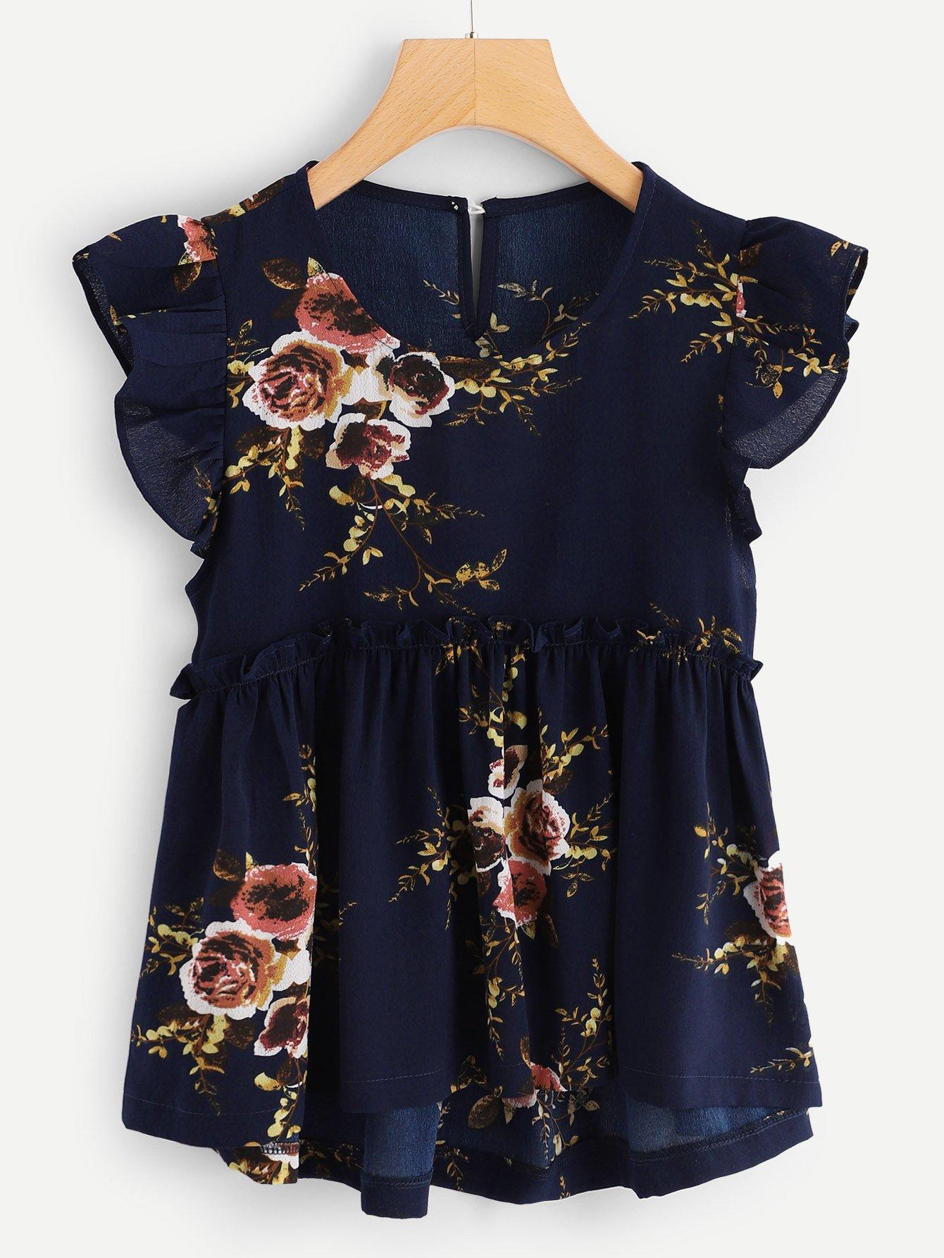 Купить Цветочная блузка с отделкой рюшами с выгнутым низом, null, SheIn
