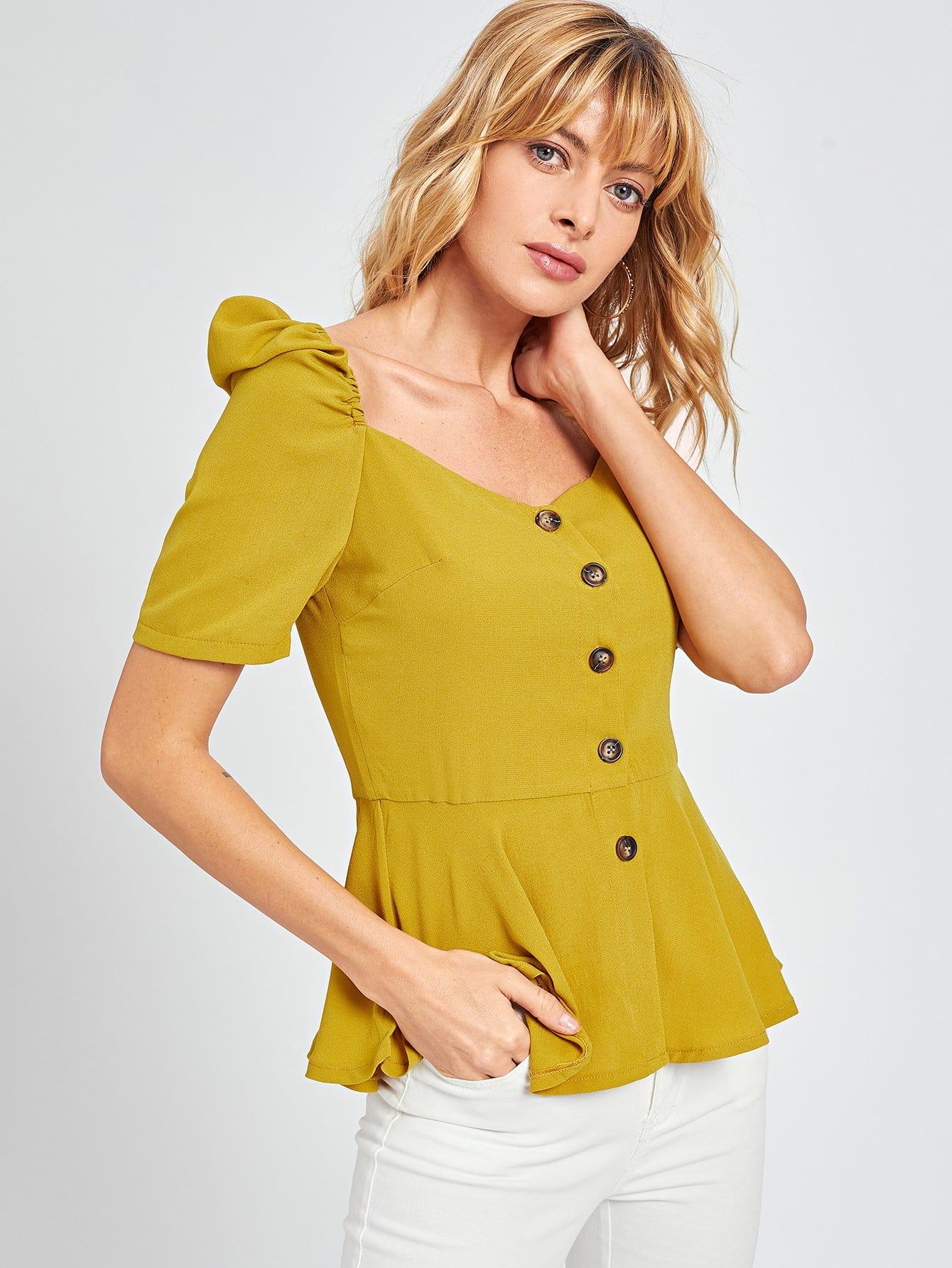 Купить Однобордная блузка с оборкой низом, Masha, SheIn