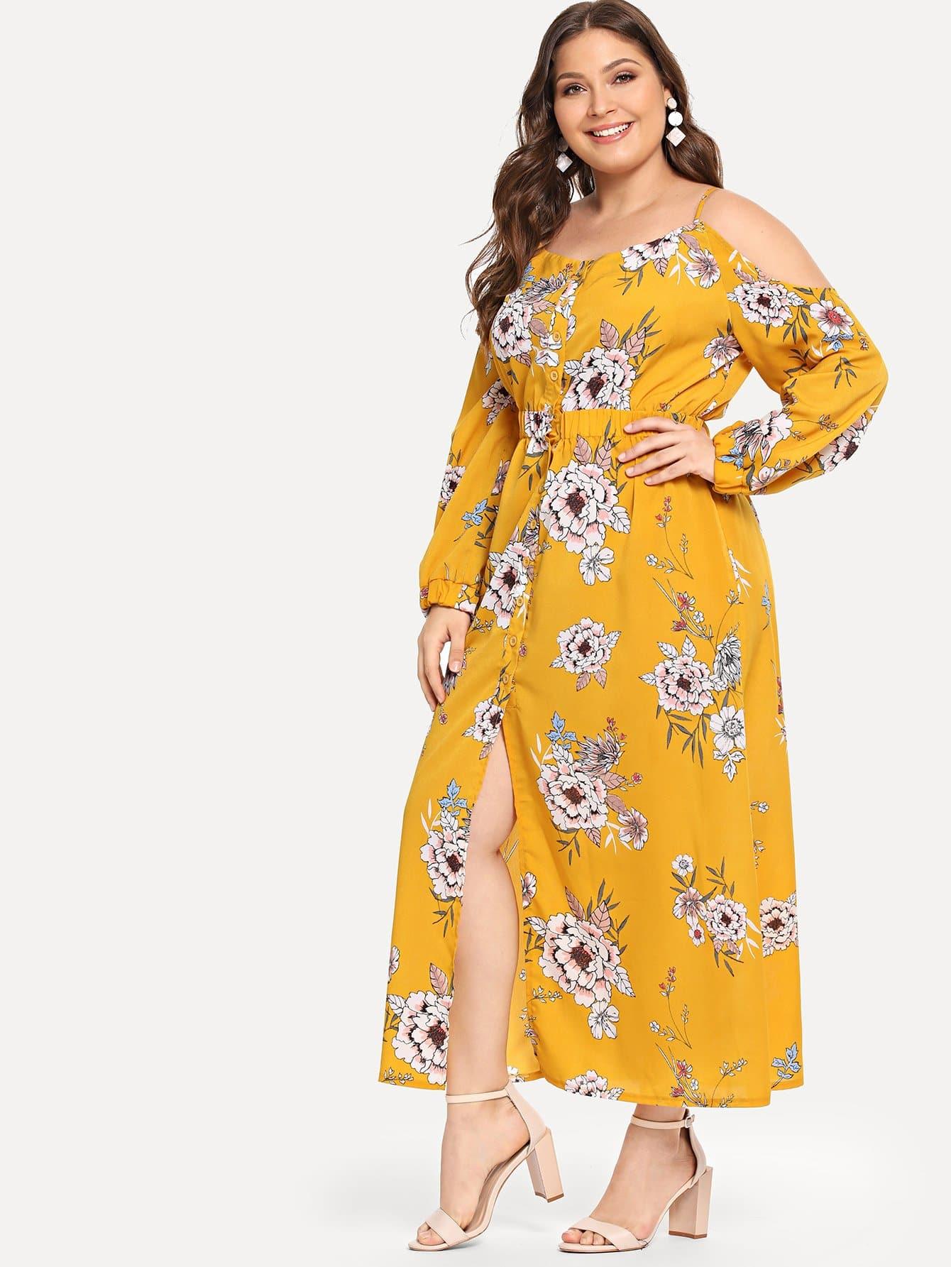Купить Большое ситцевое платье на бретелях, Carol, SheIn