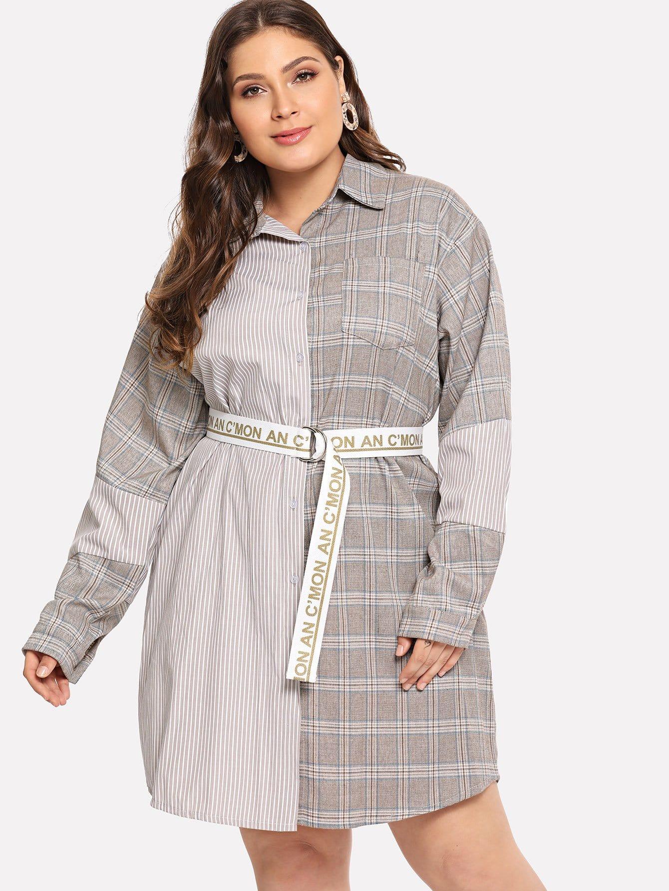 Купить Большое симметрическое платье в клетку и с поясом, Carol, SheIn