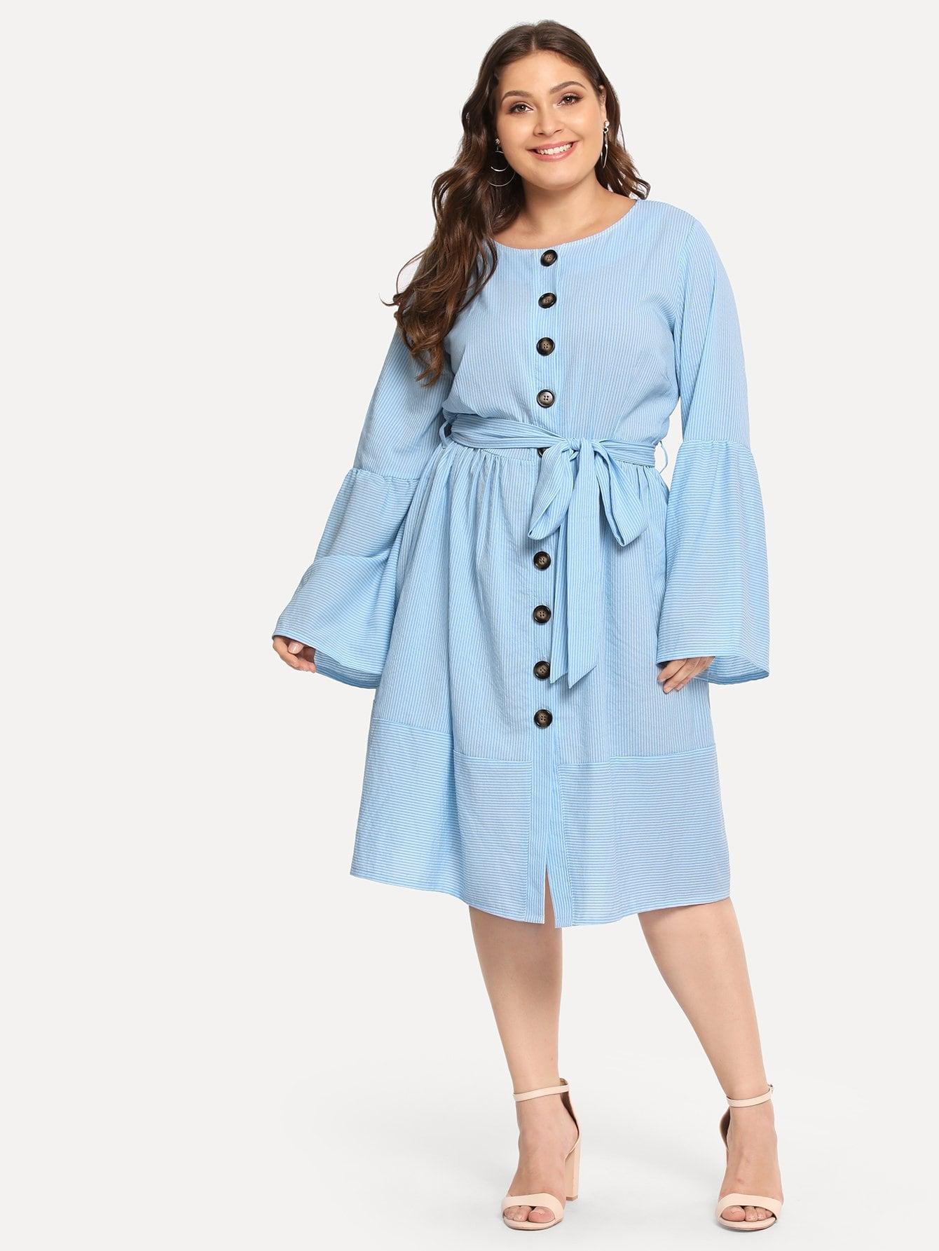 Купить Большое полосатое платье с украшением пуговицы и с поясом, Carol, SheIn