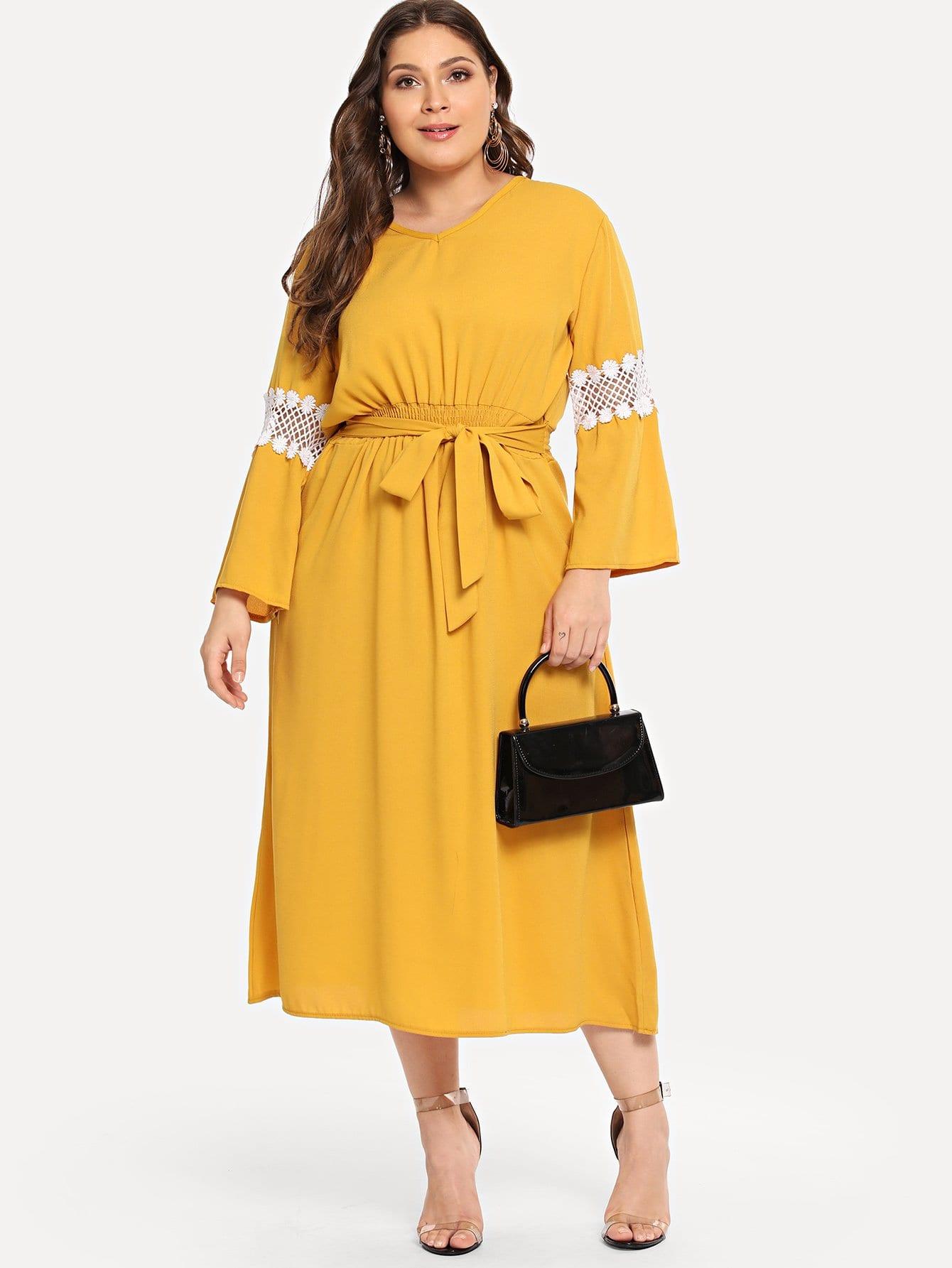 Купить Большое платье со симметрическими кружевами и поясом, Carol, SheIn